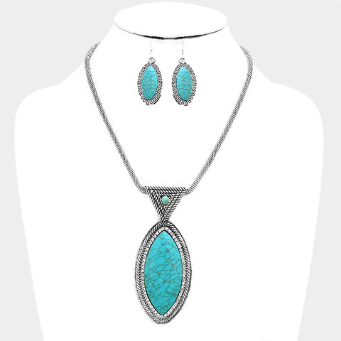 Oval Shaped Turquoise Necklace Set