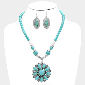 Turquoise Flower Necklace Set
