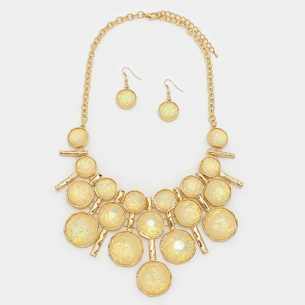 Light Yellow Statement Necklace Set