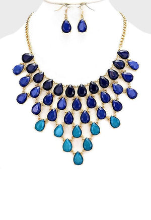 Teardrop Cluster Ombre Necklace Set - Bedazzled By Jeanelle - 1