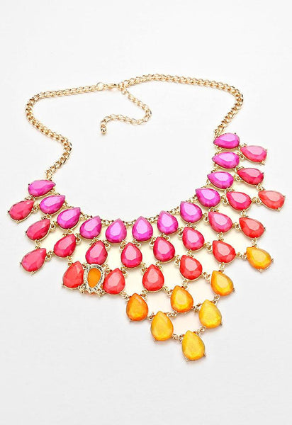 Teardrop Cluster Ombre Necklace Set - Bedazzled By Jeanelle - 2