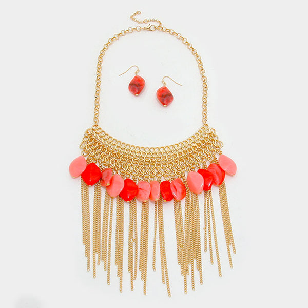 Coral Teardrop Fringe Fashion Necklace Set