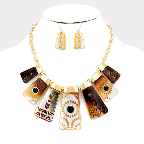 Dark Tan Boho Fashion Necklace Set