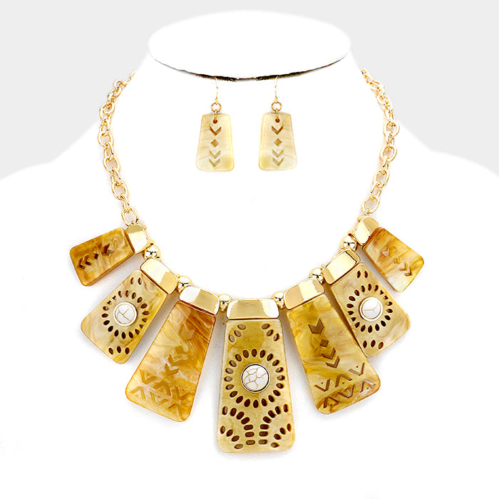 Tan Boho Fashion Necklace Set
