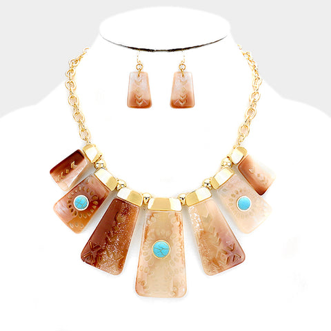 Peachy Boho Fashion Necklace Set