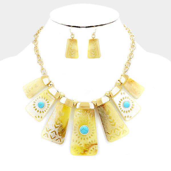 Yellow Boho Fashion Necklace Set