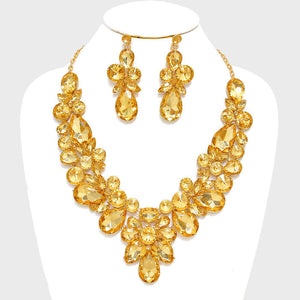 Topaz Gold Floral Crystal Rhinestone Evening Statement Necklace Set - Bedazzled By Jeanelle