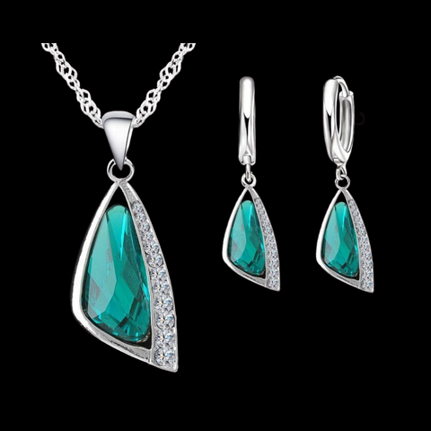Sterling Silver Teal Triangular Necklace Set