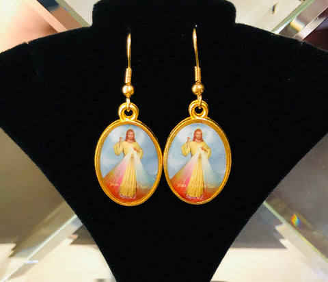 Lord of Divine Mercy Religious Earrings