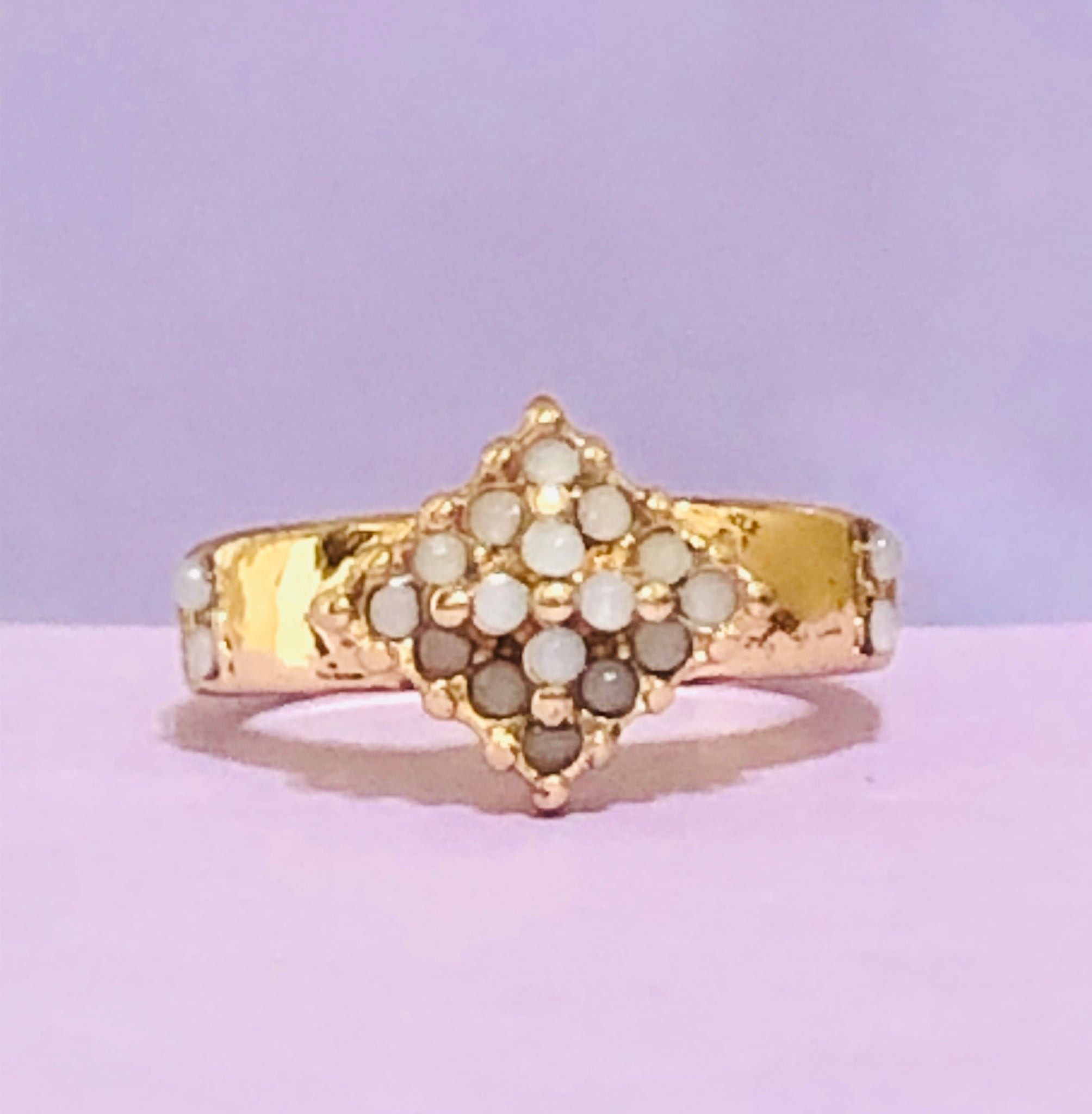 Gold Beaded Rhombus Fashion Ring