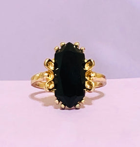 Gold and Black Jeweled Fashion Ring