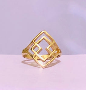 Gold Triangular Fashion Ring