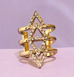 Gold Abstract Pyramid Fashion Ring