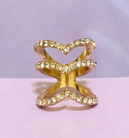 Gold 3 V-Layer Fashion Ring