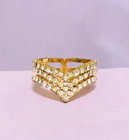 Gold 3-Layer Rhinestone Fashion Ring