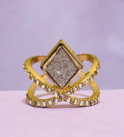 Gold Geometrical Rhinestone Fashion Ring