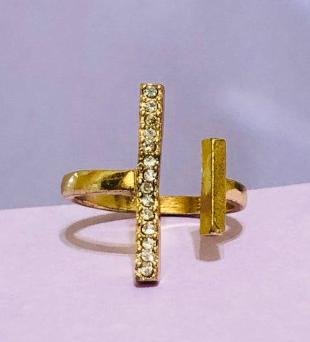 Gold Double Line Rhinestone Fashion Ring