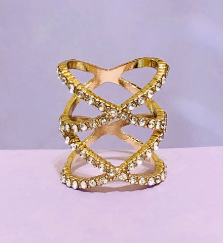 Gold Double X Rhinestone Fashion Ring