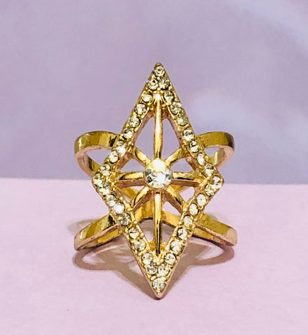 Gold Diamond Geometric Rhinestone Fashion Ring