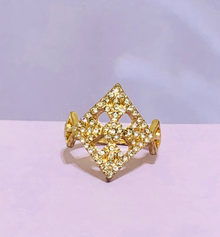 Gold Diamond Shaped Rhinestone Fashion Ring