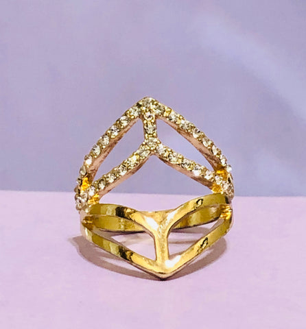 Gold Power Rhinestone Fashion Ring