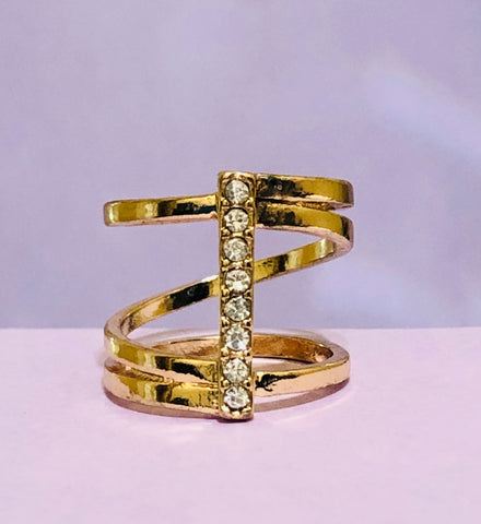 Gold Swirl Rhinestone Fashion Ring