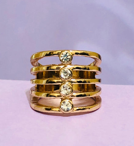 Gold Layered Rhinestone Fashion Ring