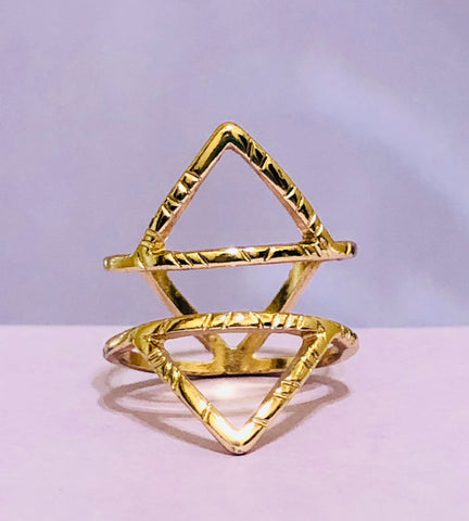 Gold Geometric Triangular Fashion Ring