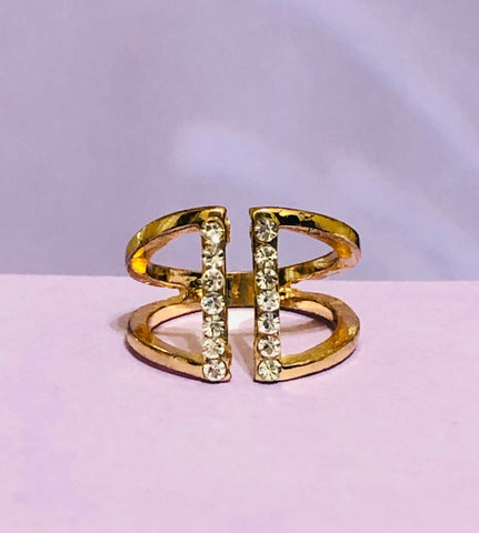 Gold Rhinestone Fashion Ring