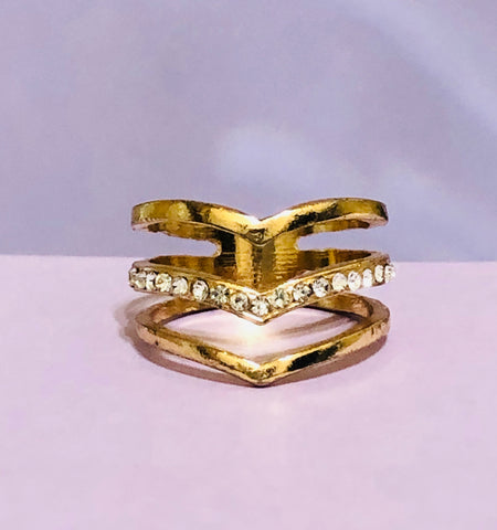 Gold 3 Layer Rhinestone Fashion Ring