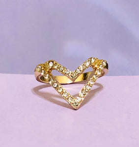 Gold Heart Rhinestone Fashion Ring