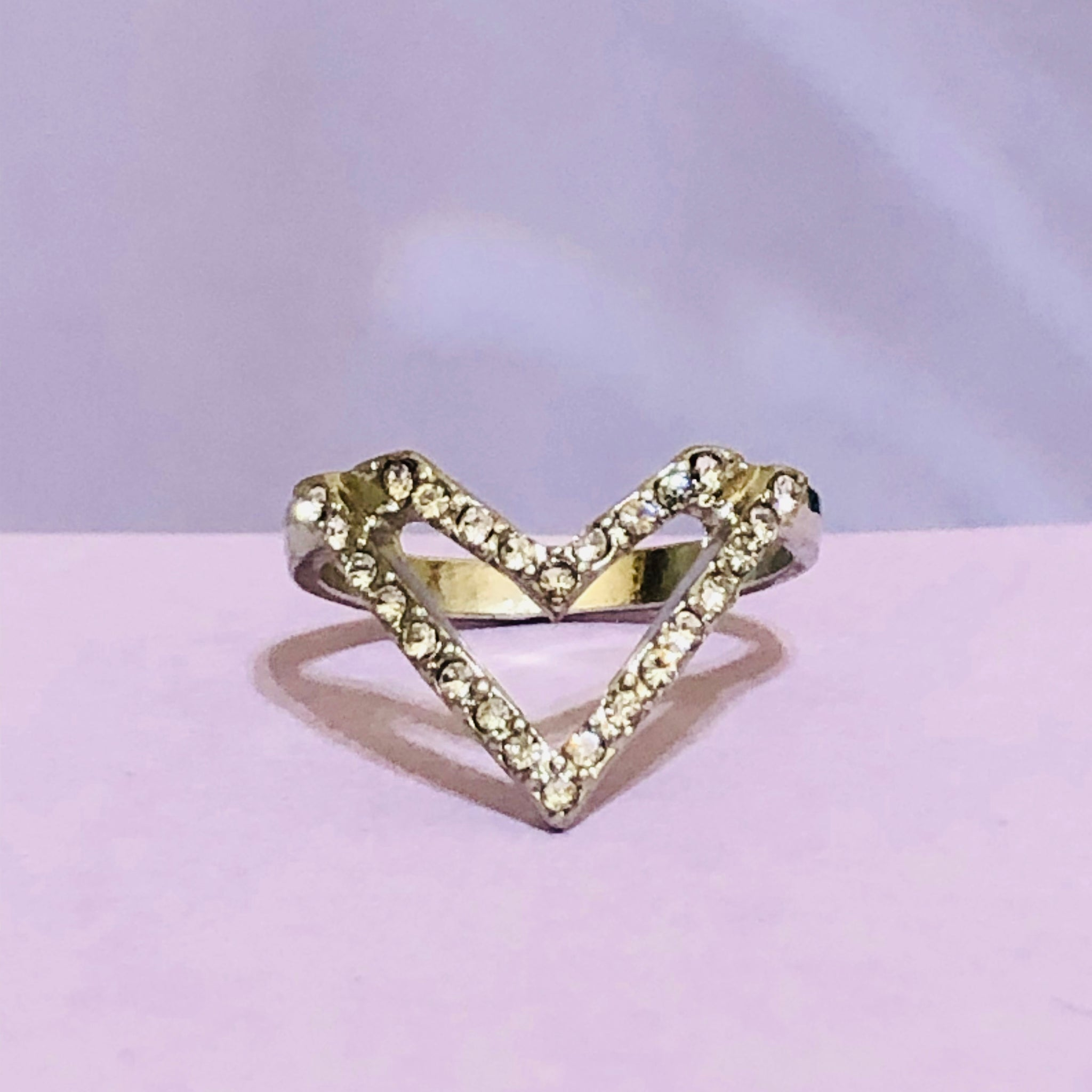 Silver Heart Shaped Fashion Ring