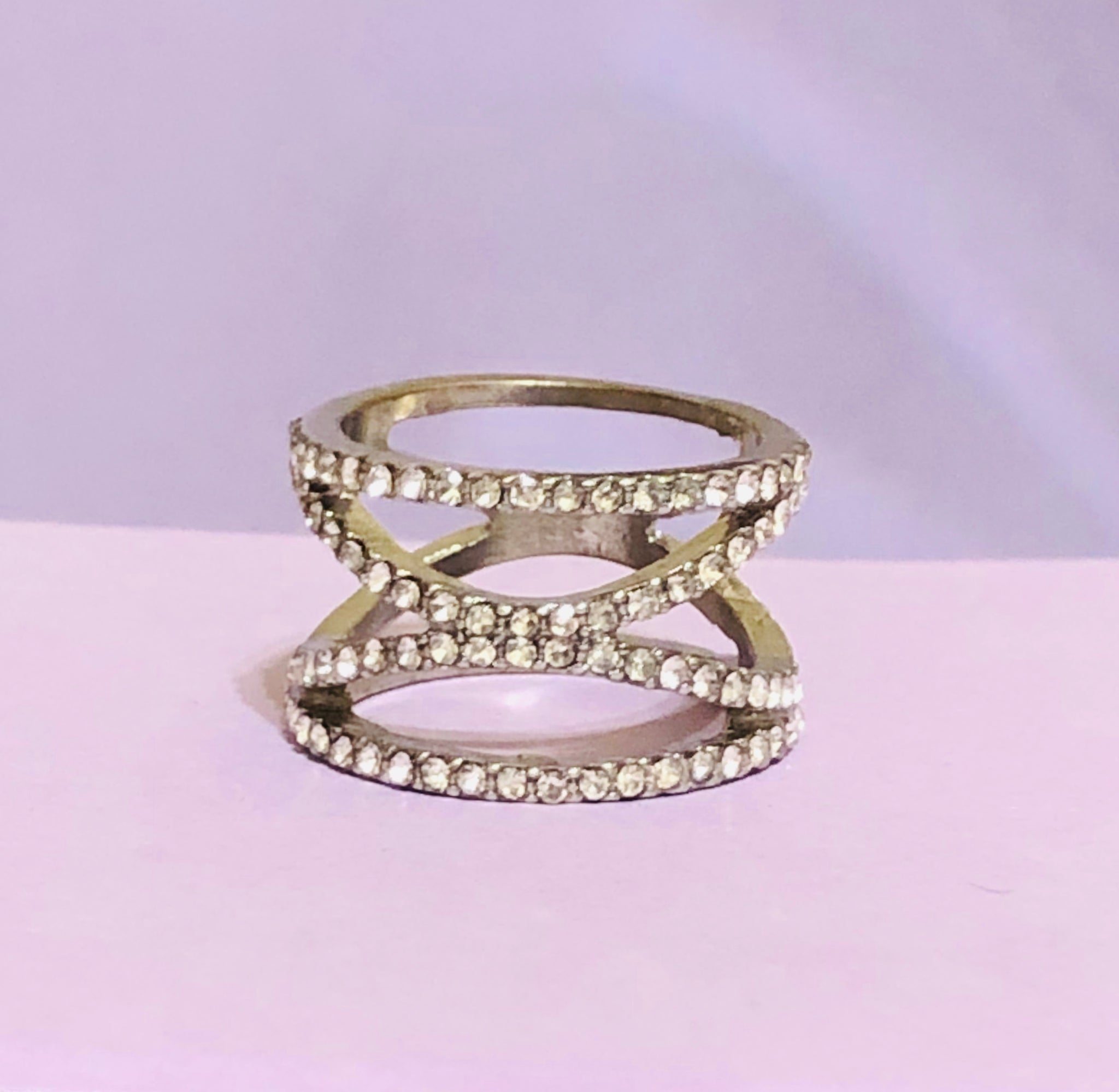 Silver Rhinestone Fashion Ring