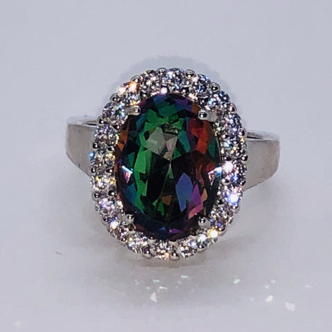 Sterling Silver Mystic Topaz Oval Ring