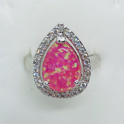 Sterling Silver Pink Opal Ring