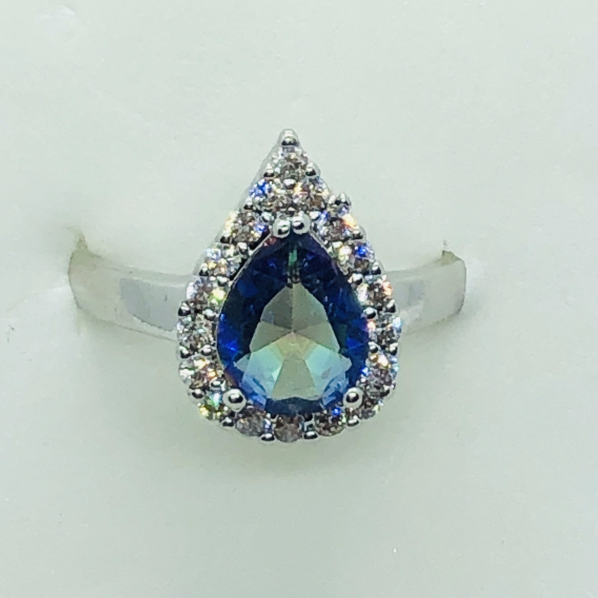 Sterling Silver Mystic Blue Teardrop Ring