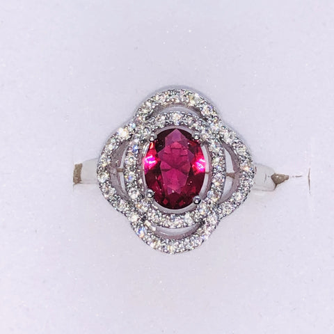 Sterling Silver Ruby Red Ring