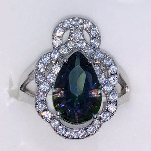 Sterling Silver Mystic Topaz Teardrop Ring