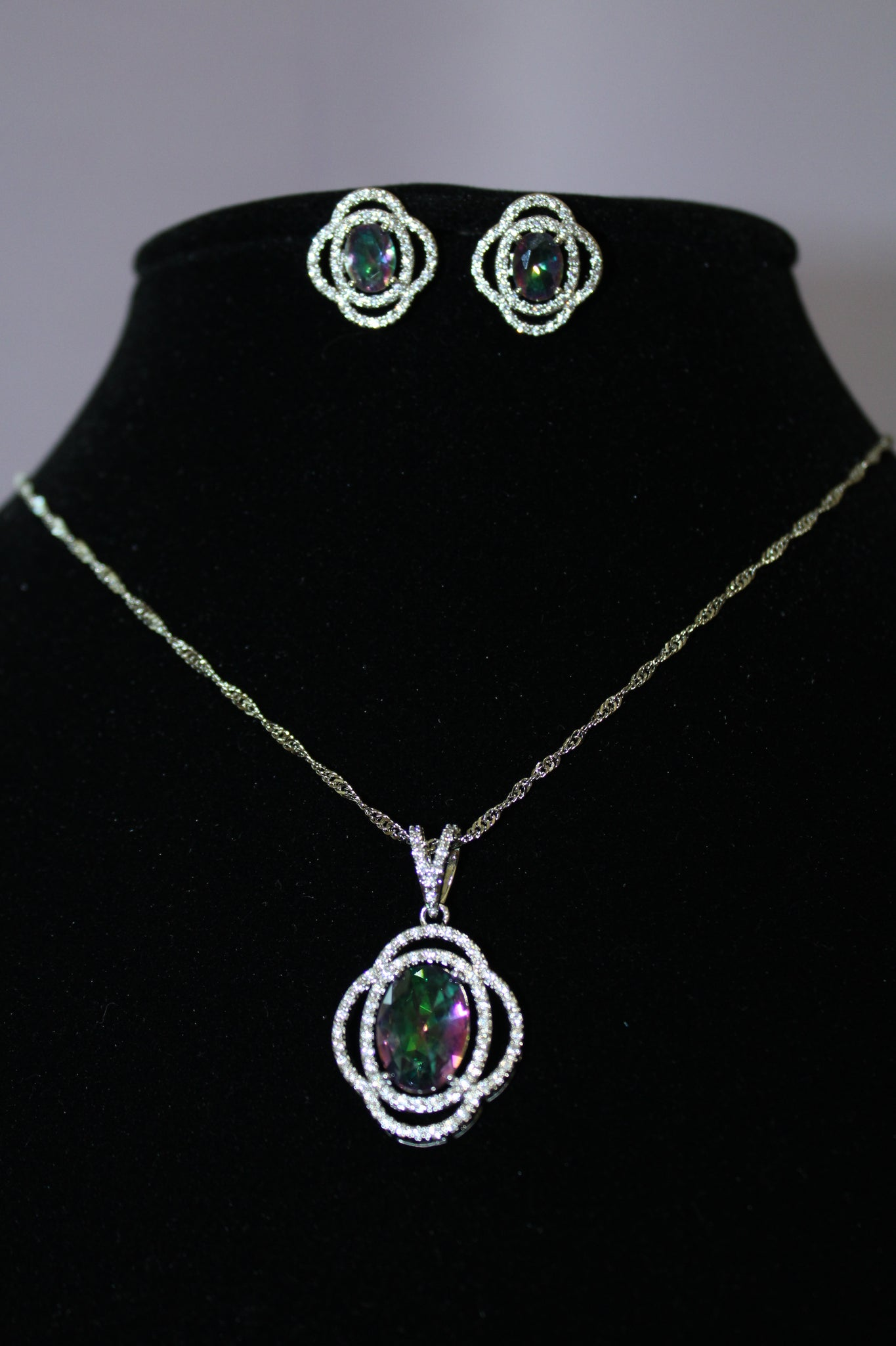 Sterling Silver Oval Mystic Fire Green Topaz Necklace Set