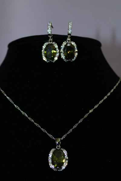 Sterling Silver Emerald Green Necklace Set