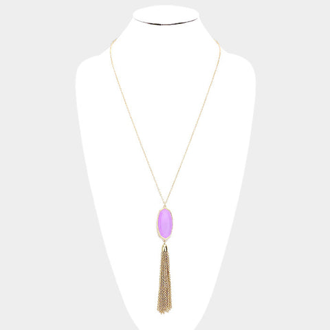 Lavender Hexagon Stone Drop Chain Tassel Pendant Necklace