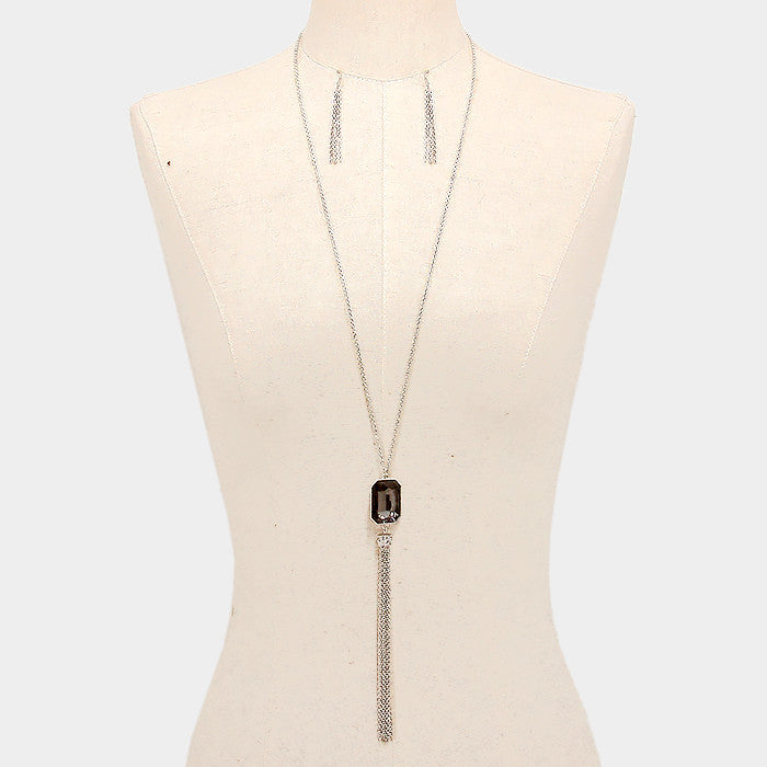 Gray Gem Long Necklace Set - Bedazzled By Jeanelle