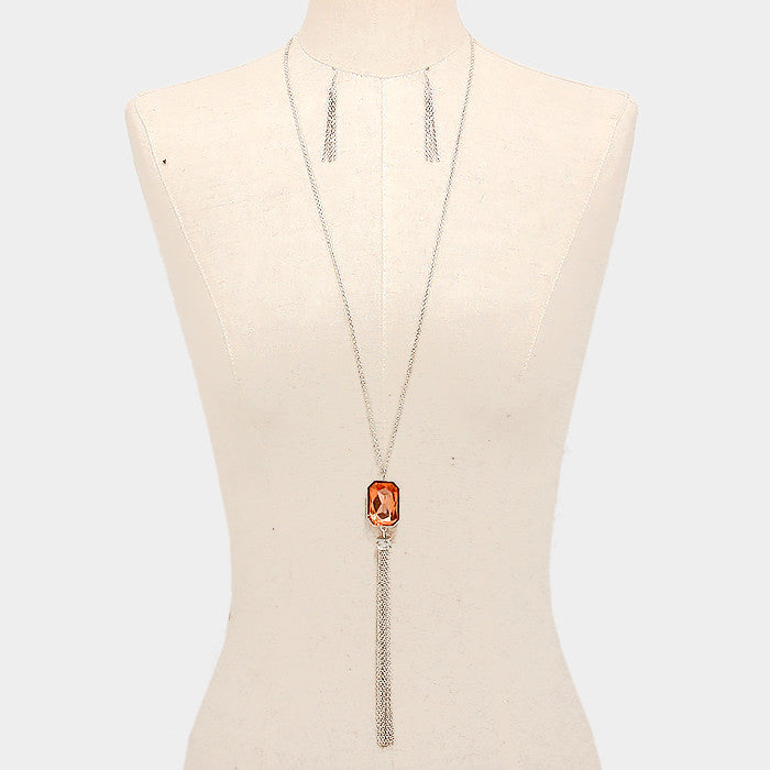 Orange Tangerine Gem Long Necklace Set - Bedazzled By Jeanelle - 1