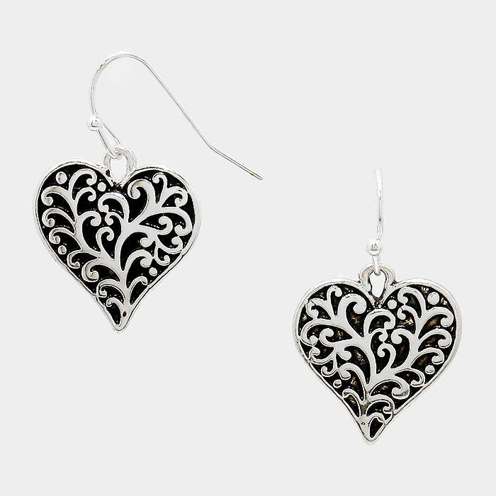 Filigree Antique Heart Earrings - Bedazzled By Jeanelle