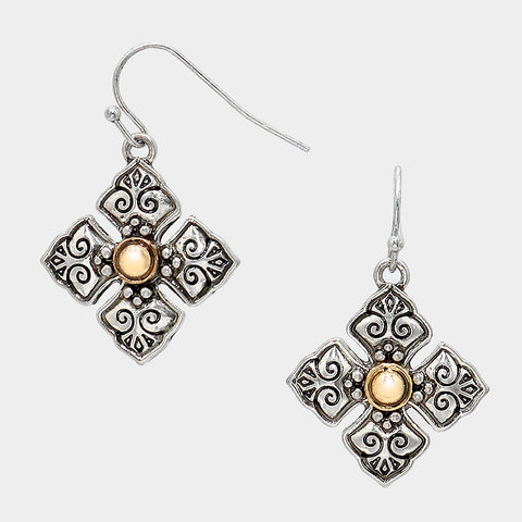Filigree Antique Cross Earrings - Bedazzled By Jeanelle