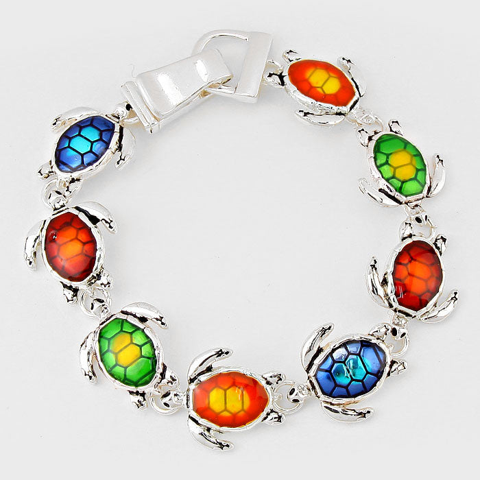 Multi-Color Turtle Silver Enamel Bracelet
