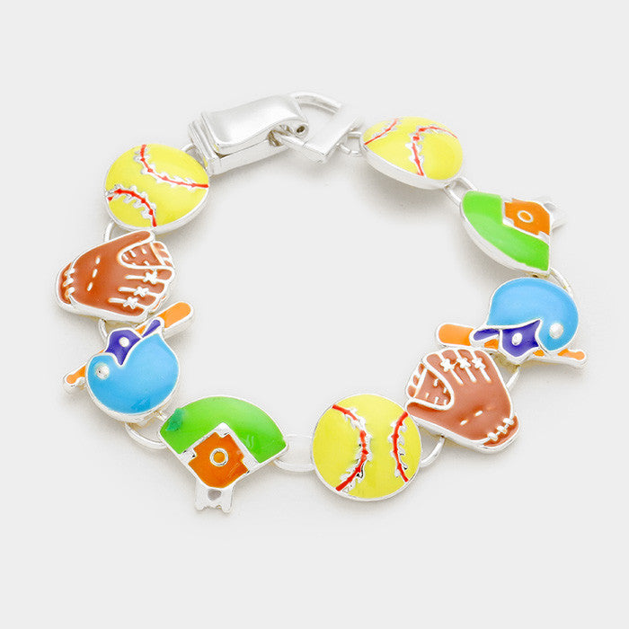 Softball Enamel Bracelet