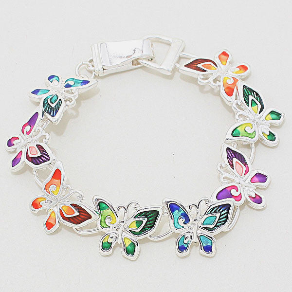 Multi-Color Butterfly Silver Enamel Bracelet