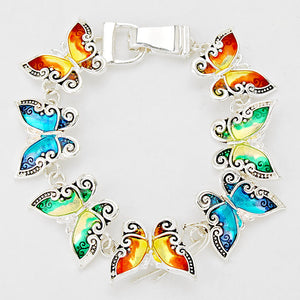 New Multi-Colored Butterfly Magnetic Silver Enamel Bracelet