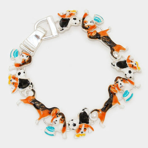 Dog and Football Enamel Bracelet